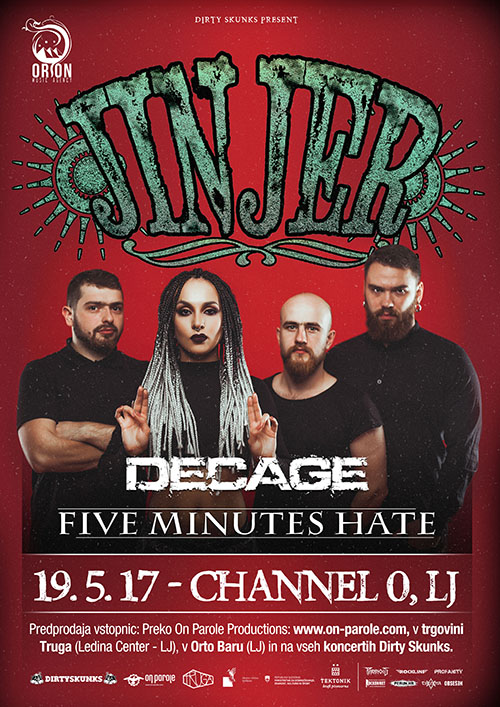 Jinjer (Ukr), Decage (Si), Five Minutes Hate (Ita)
