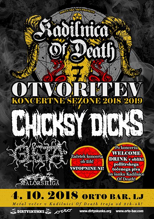 Kadilnica of Death: Otvoritev sezone 2018/2019 s koncertom skupin Chicksy Dicks, Glista in Malorshiga