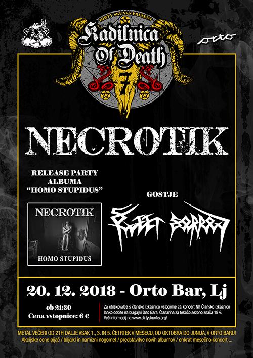 Kadilnica of Death: Necrotik (Si) release party z gosti Sweet Sorrow (Si)