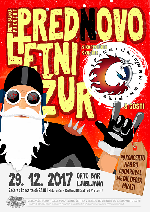Kadilnica of Death Extra: Prednovoletni žur w/ Space Unicorn on Fire (Si) & Metal Dedek Mraz
