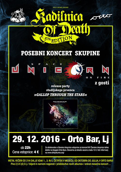 Kadilnica of Death: Prednovoletni žur & Space Unicorn on Fire Release Party