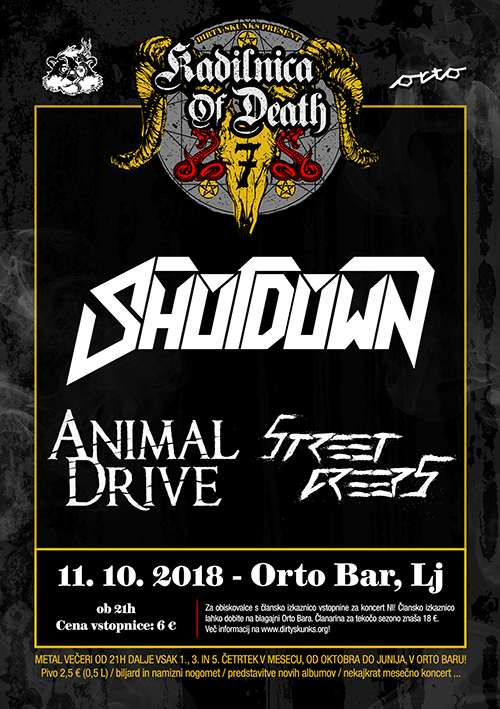 Kadilnica of Death: Shotdown (Si), Animal Drive (Cro), Street Creeps (Si)