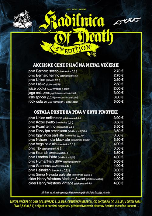 Akcijske cene in Orto pivoteka v Kadilnici Of Death!