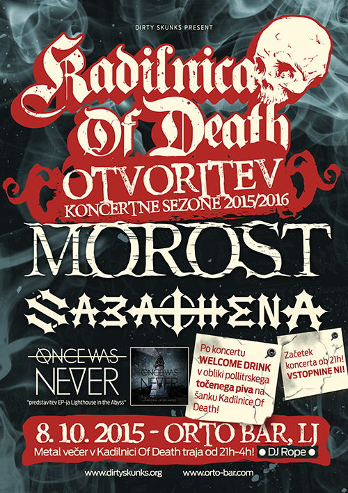 Kadilnica Of Death: Otvoritev sezone 2015/2016 s koncertom skupin Morost, Sabathena in Once Was Never