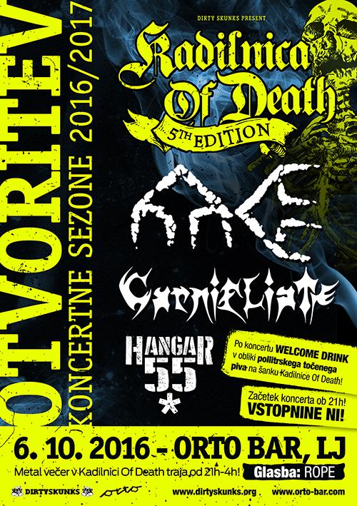 Kadilnica of Death: Otvoritev sezone 2016/2017 s koncertom skupin Ater Era, Carnifliate in Hangar 55