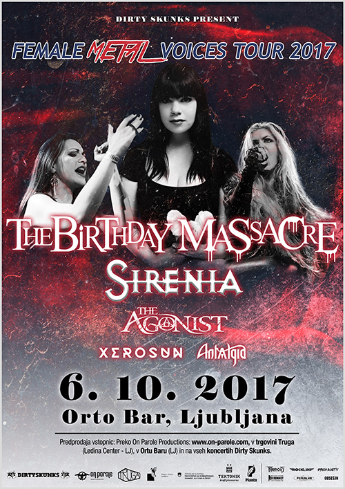 The Birthday Massacre (Can), Sirenia (Nor), The Agonist (Can)